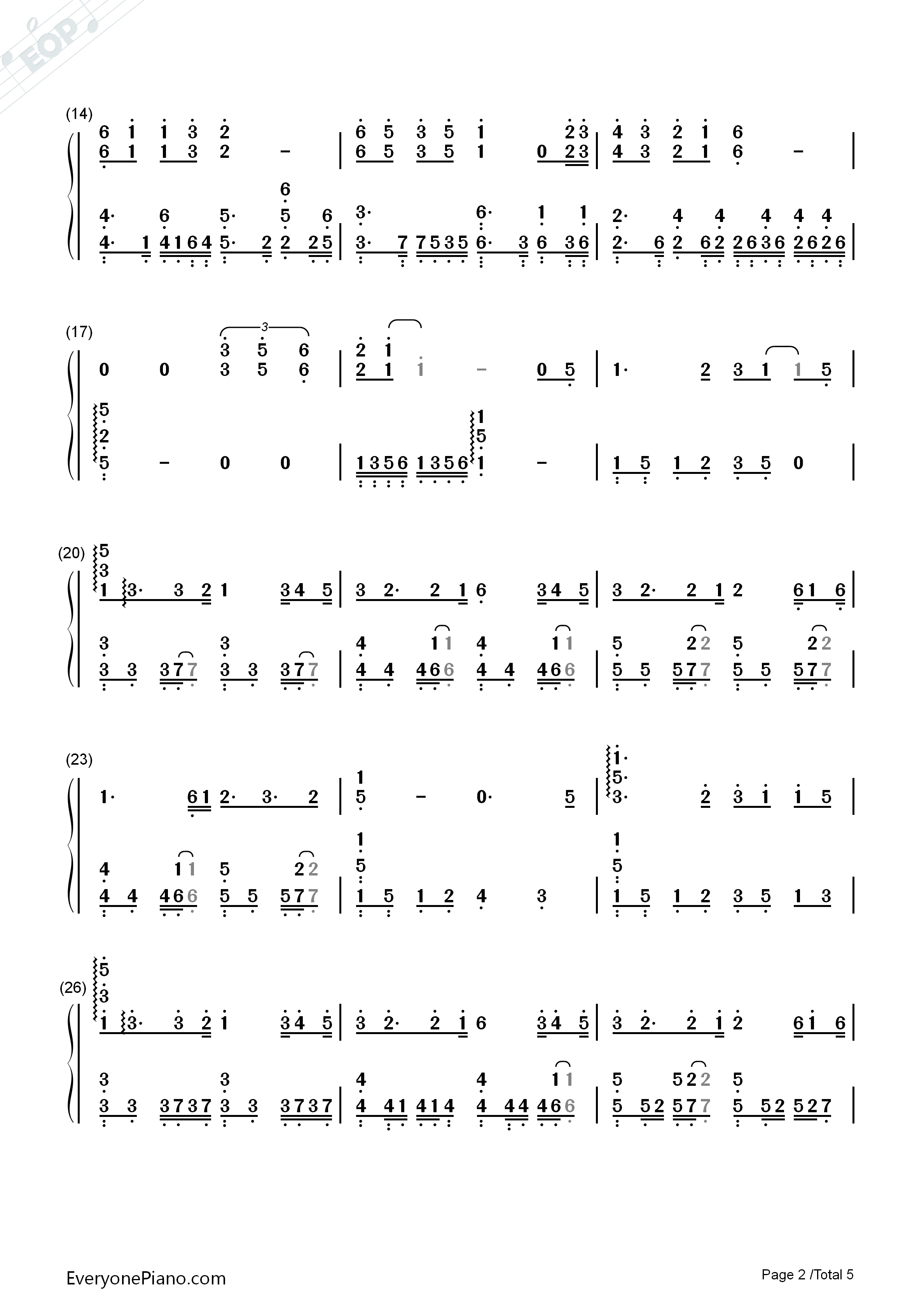 In the Name of People Numbered Musical Notation Preview 2