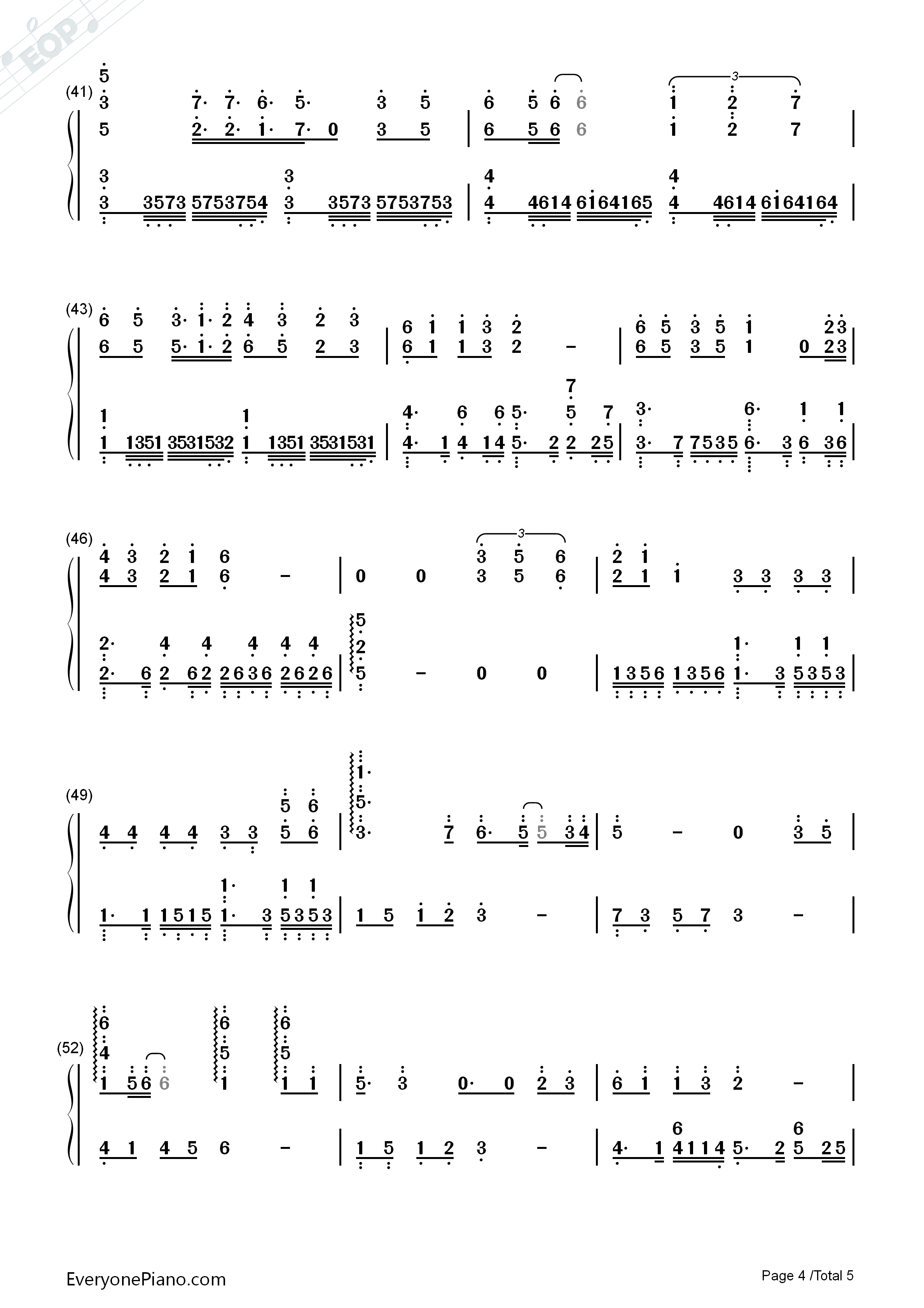 In the Name of People Numbered Musical Notation Preview 4