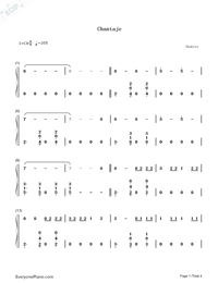 Chantaje-Shakira-Numbered-Musical-Notation-Preview-1