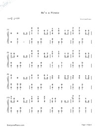He is a Pirate-The Theme Song of Pirates of the Caribbean-Numbered-Musical-Notation-Preview-1