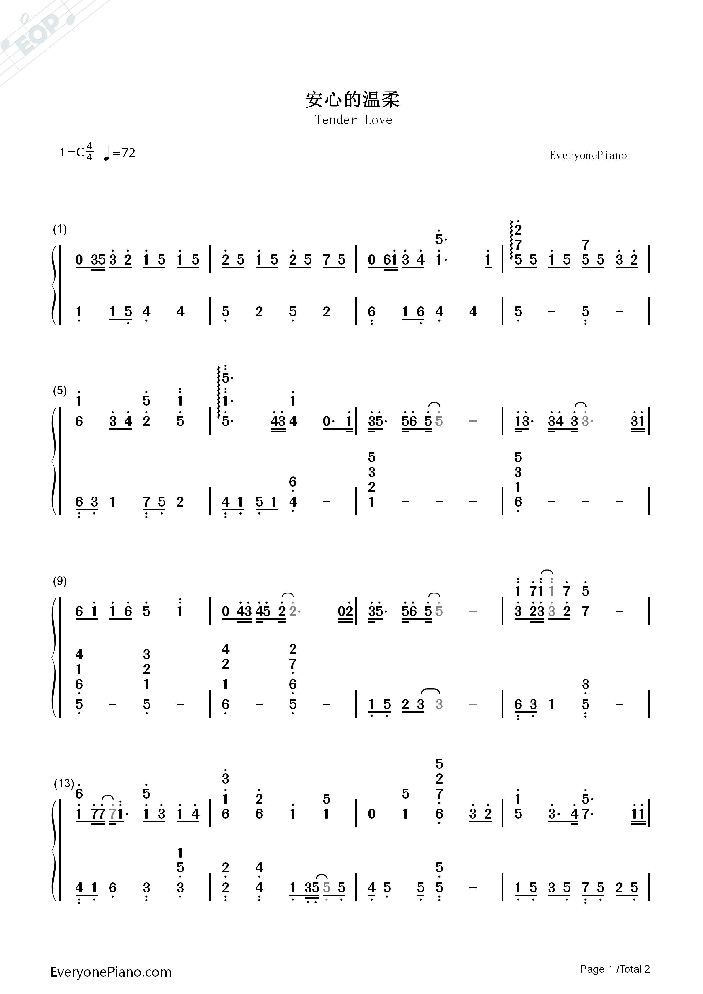 Tender love yang yang numbered musical notation preview 1 free listen now print sheet tender love yang yang numbered musical notation preview 1 hexwebz Images