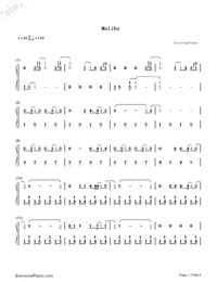 Malibu-Miley Cyrus-Numbered-Musical-Notation-Preview-1