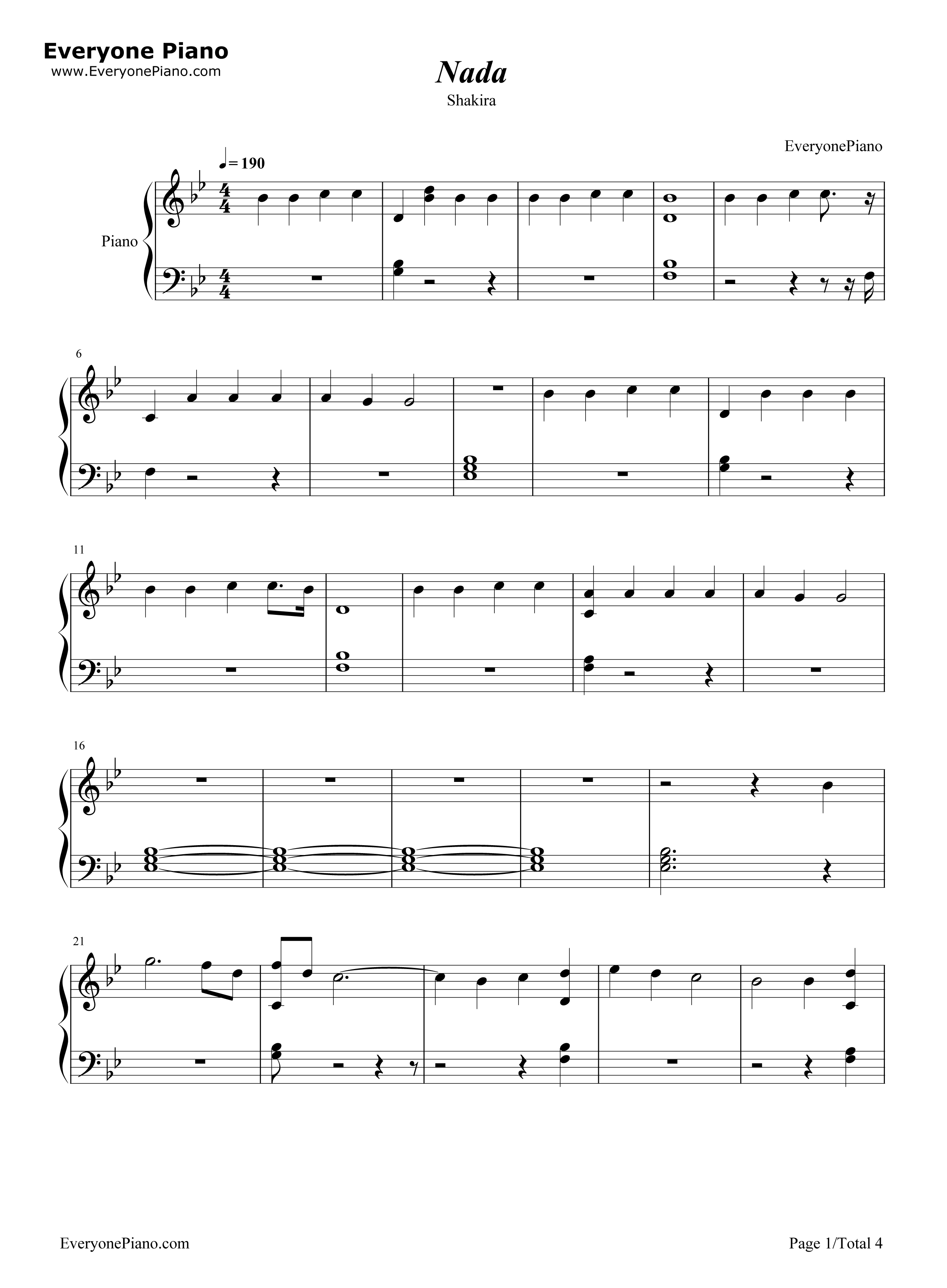 Nada-Shakira Stave Preview 1- Free Piano Sheet Music & Piano Chords