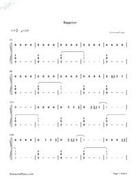 Happier-Ed Sheeran-Numbered-Musical-Notation-Preview-1