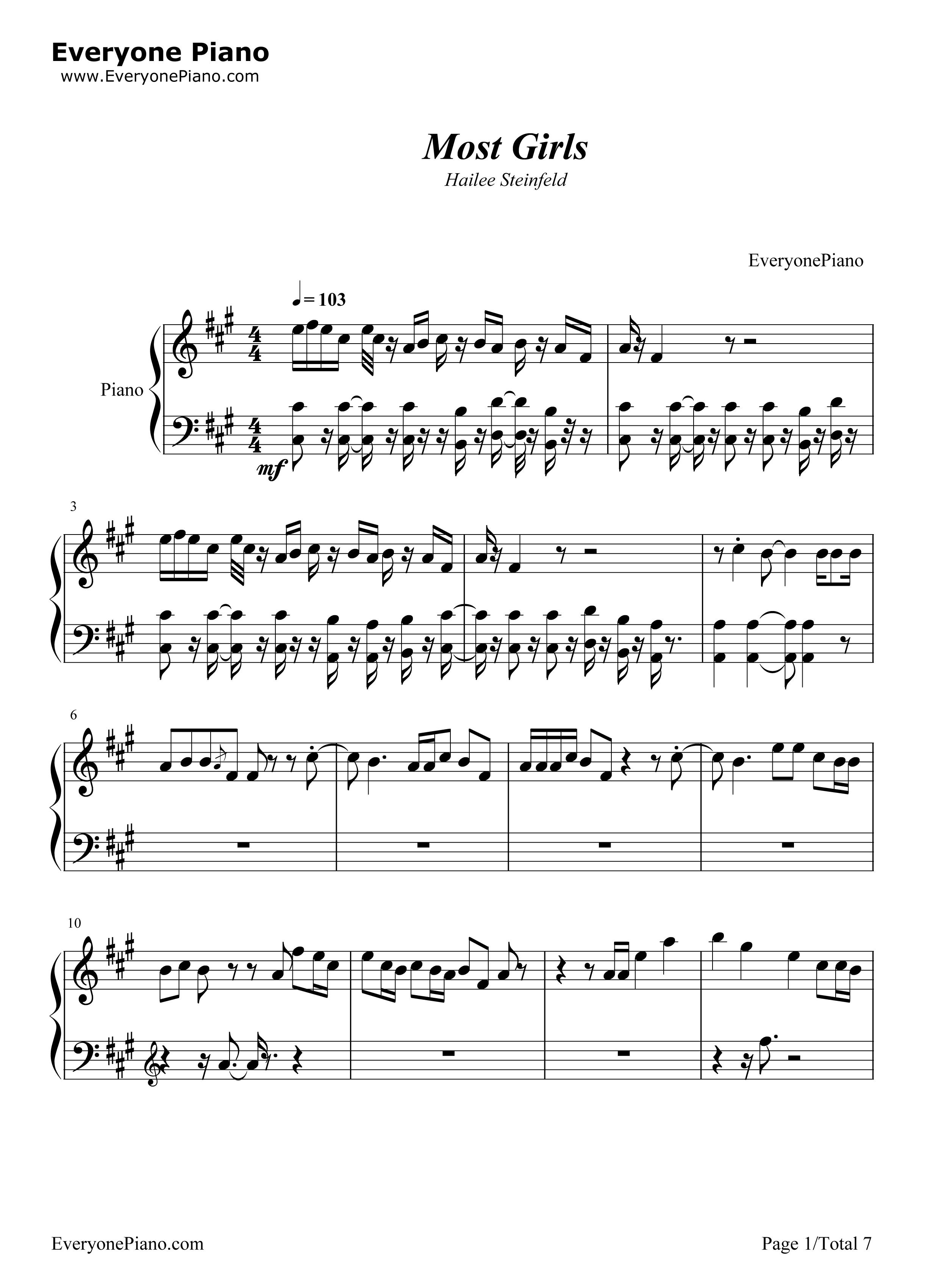 Most Girls-Hailee Steinfeld Free Piano Sheet Music & Piano