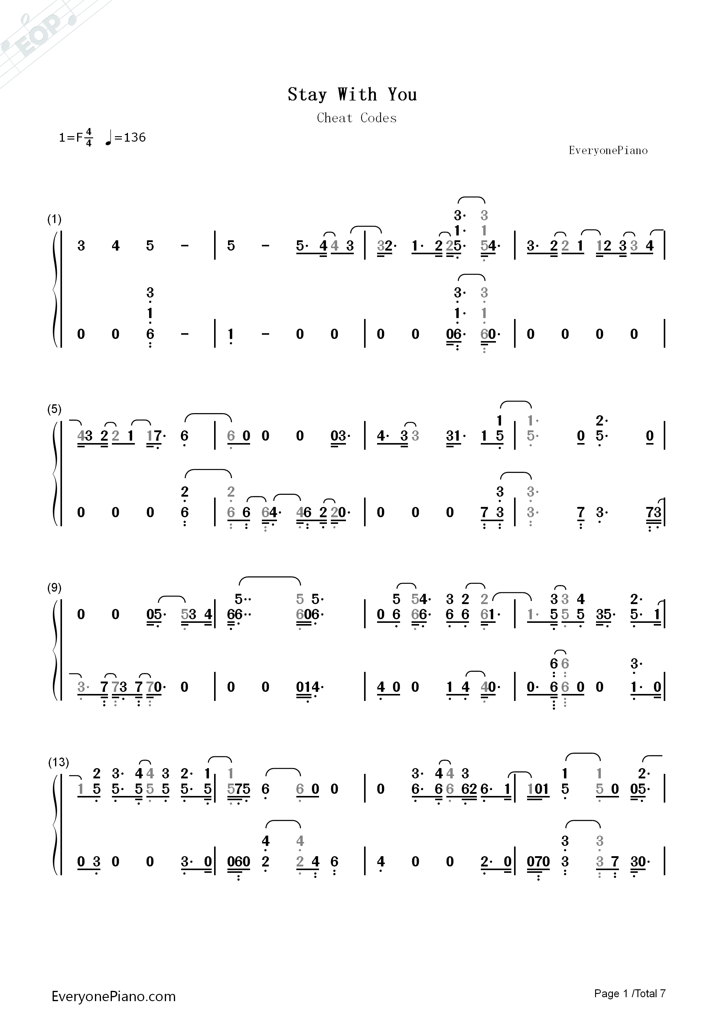 <b>Stay</b> With <b>You</b>-<b>Cheat Codes</b> Numbered Musical Notation Preview