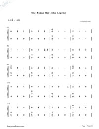 One Woman Man-John Legend Numbered Musical Notation Preview 1