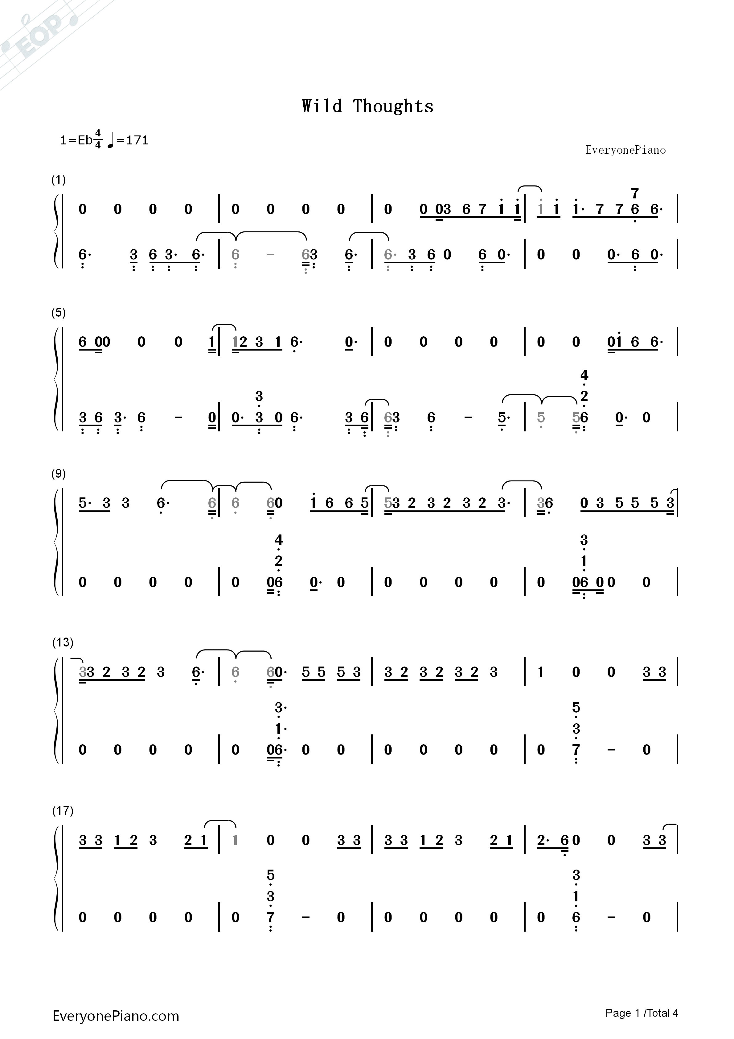 Wild Thoughts Numbered Musical Notation Preview 1