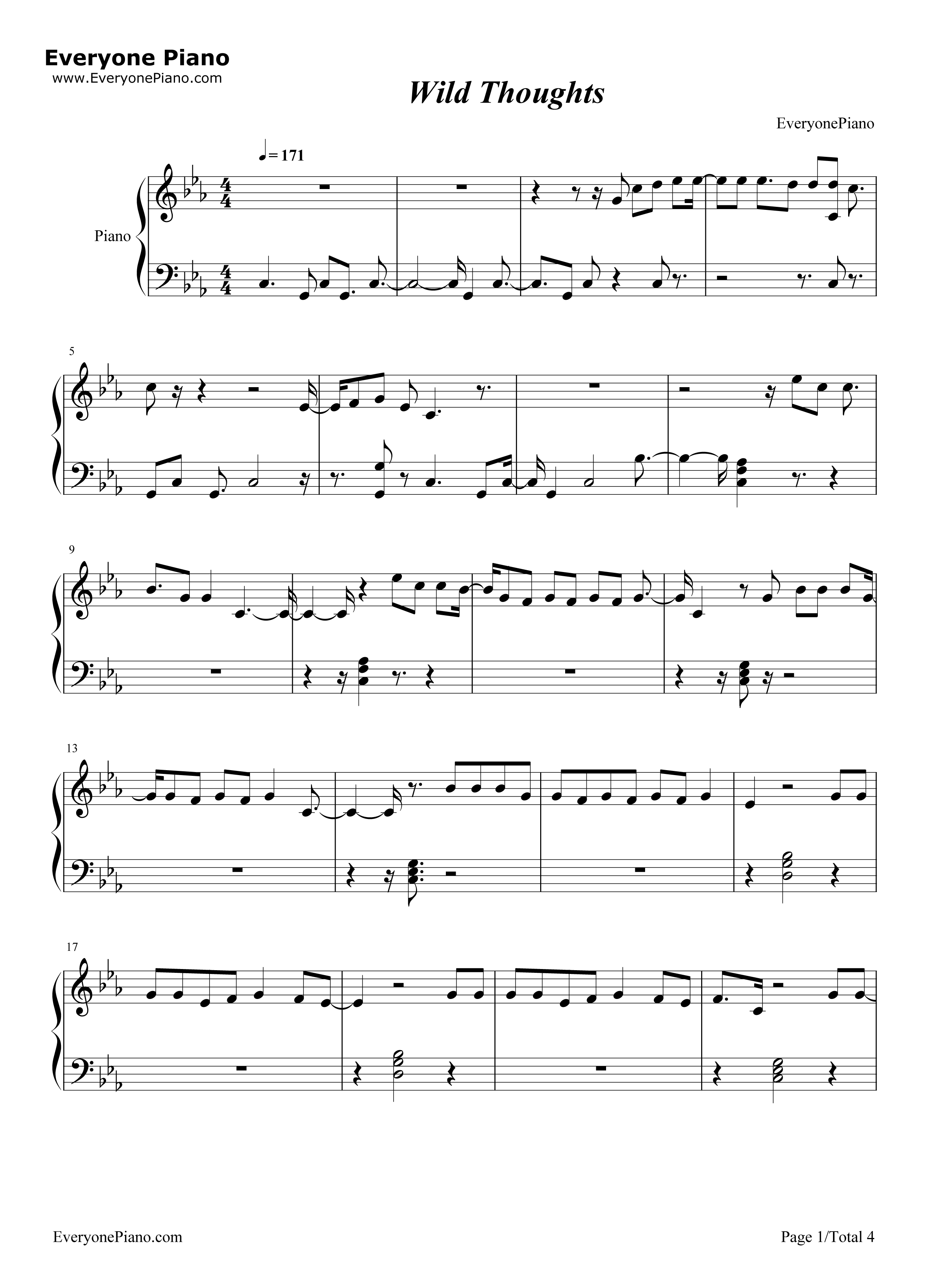 Wild thoughts stave preview 1 free piano sheet music piano chords listen now print sheet wild thoughts stave preview 1 hexwebz Gallery
