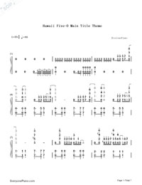 Hawaii Five-0 Main Title Theme Numbered Musical Notation Preview 1