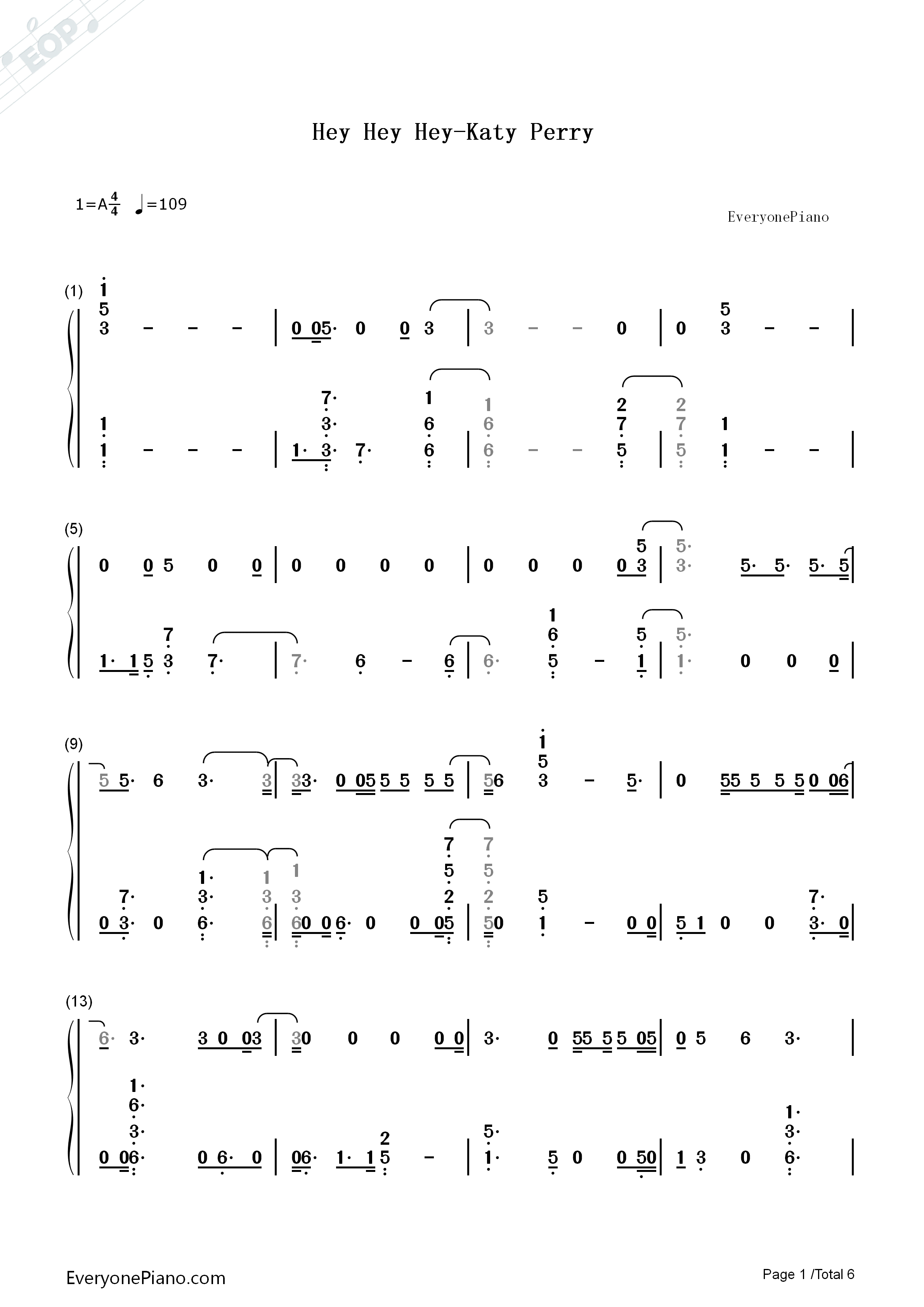 Hey Hey Hey-Katy Perry Numbered Musical Notation Preview 1