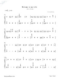 Welcome to My Life-Chris Brown-Numbered-Musical-Notation-Preview-1