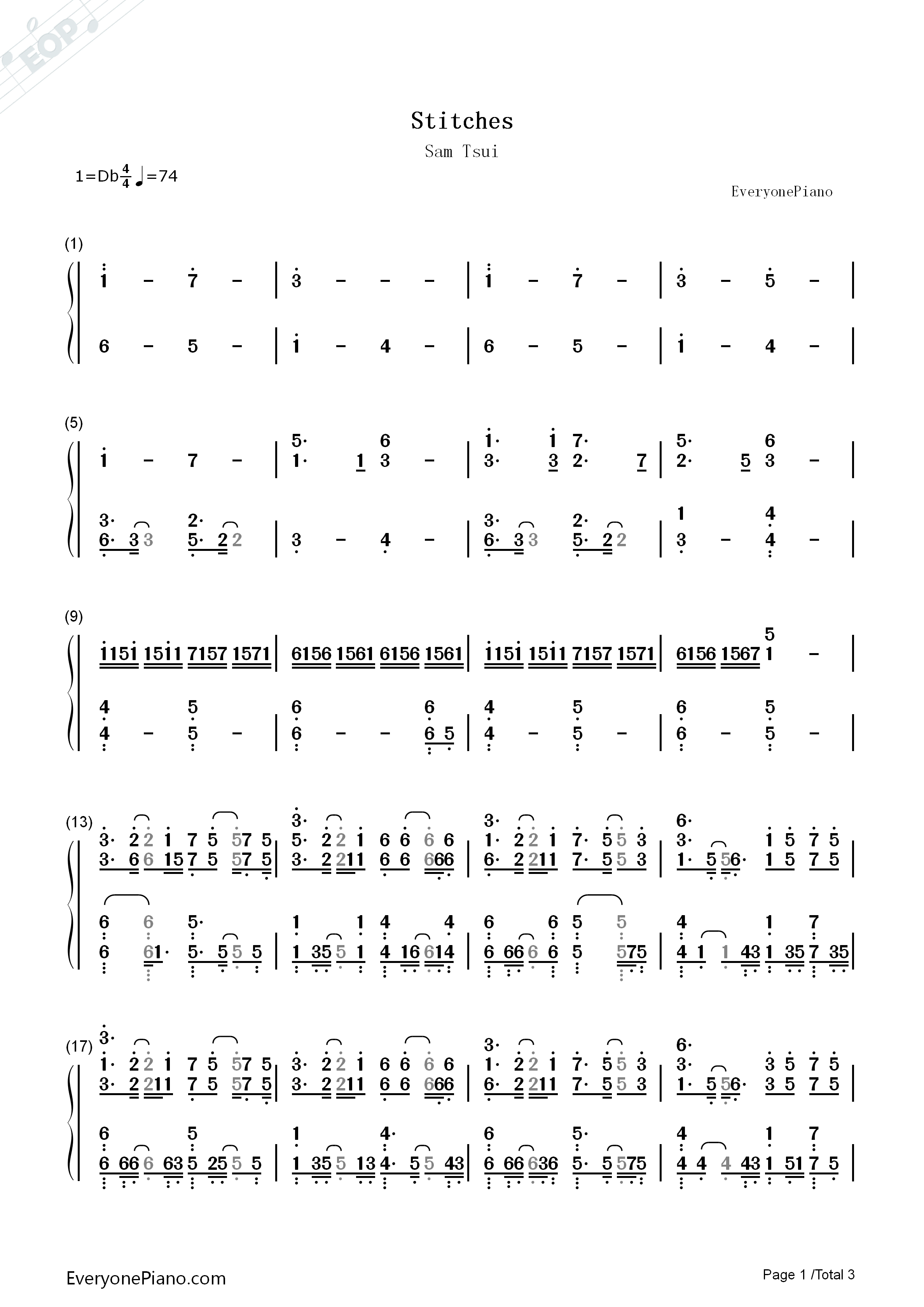 stitches chords piano