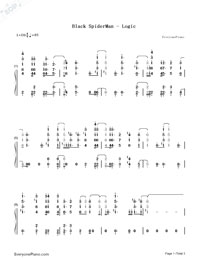 Black SpiderMan-Logic-Numbered-Musical-Notation-Preview-1