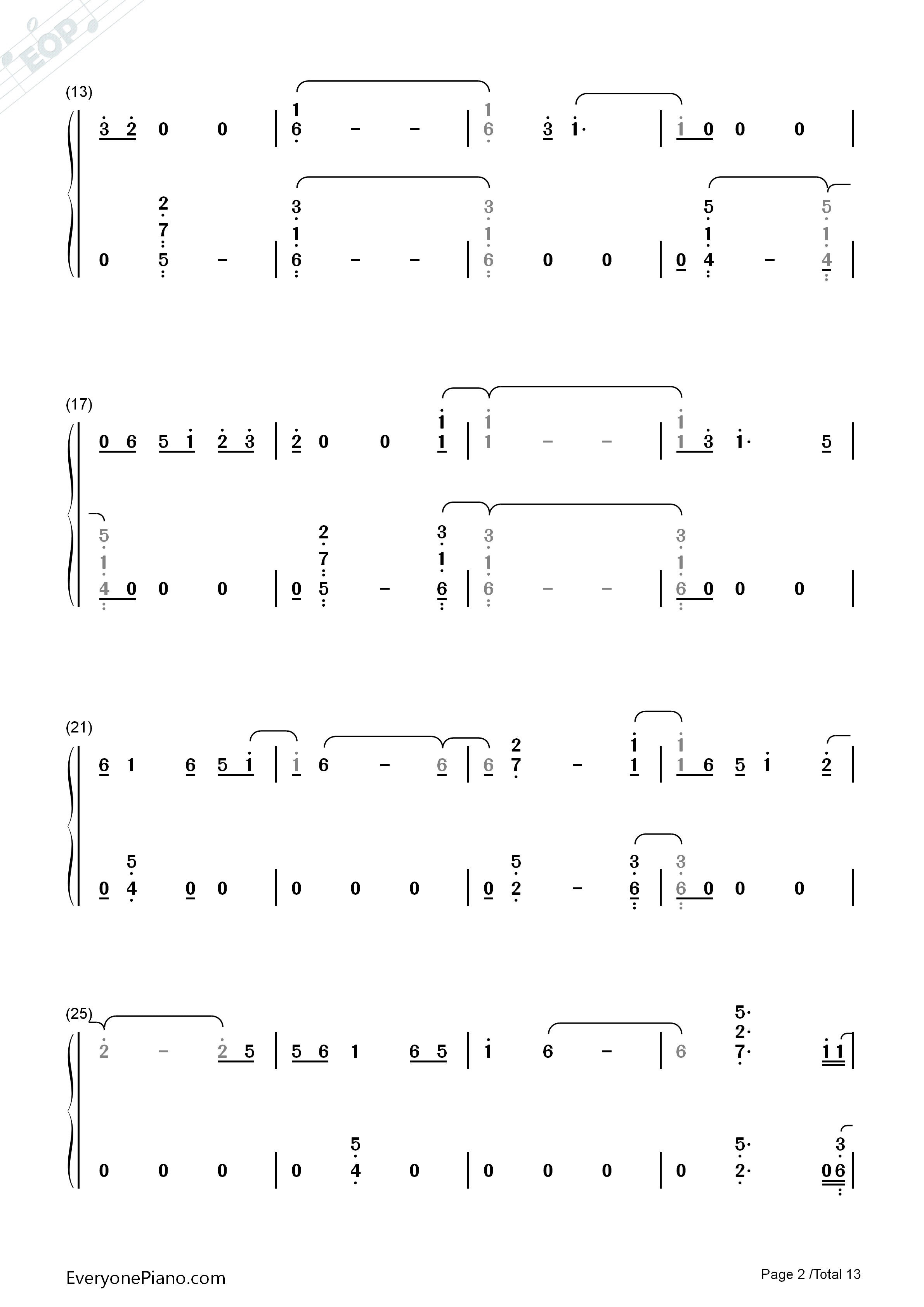 First Time-Kygo and Ellie Goulding Numbered Musical Notation Preview 2