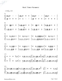 Hard Times-Paramore-Numbered-Musical-Notation-Preview-1