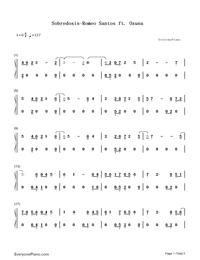 Sobredosis-Romeo Santos and Ozuna-Numbered-Musical-Notation-Preview-1