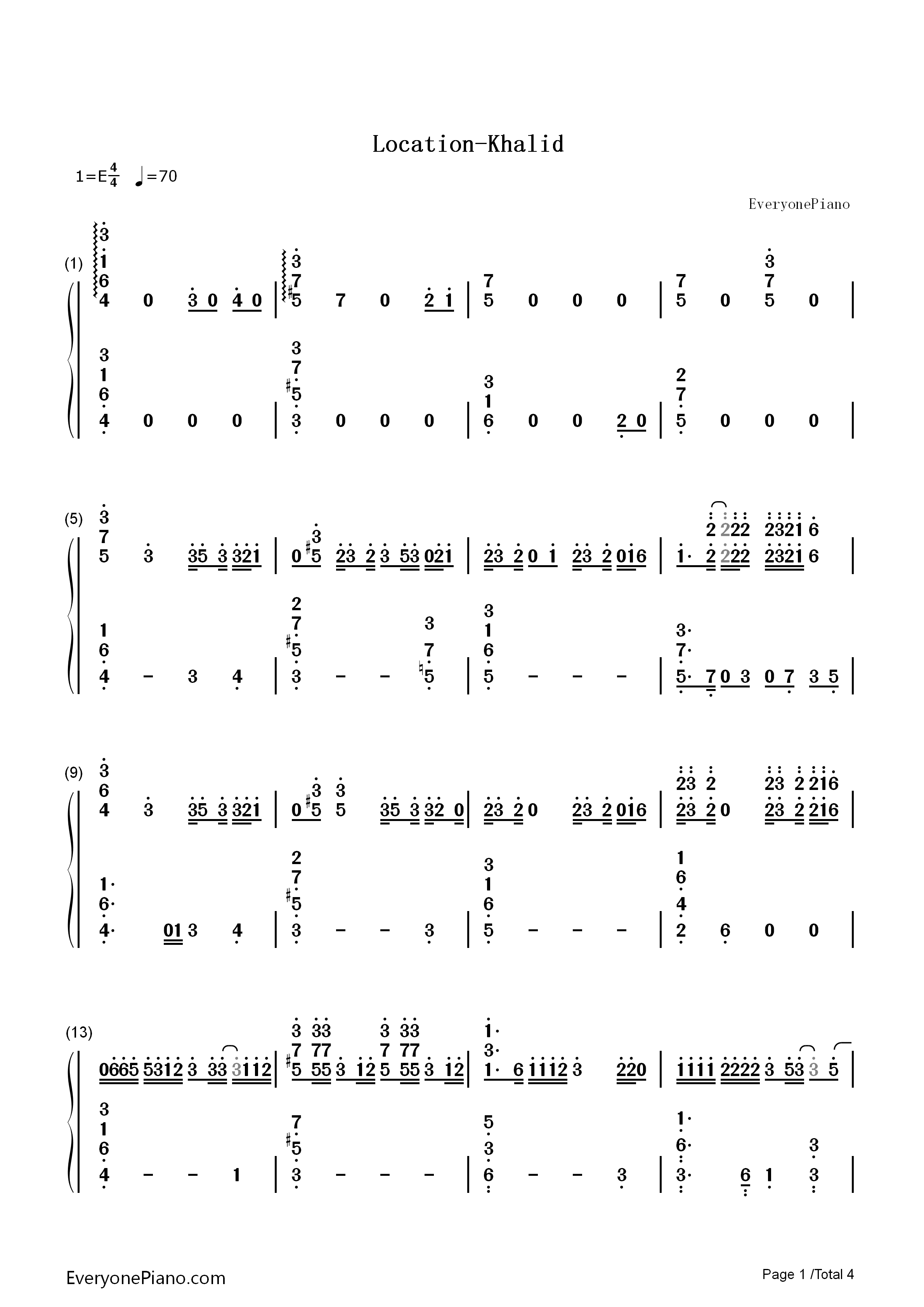 Location-Khalid Numbered Musical Notation Preview 1