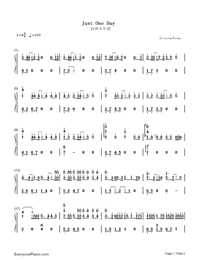 Just One Day Free Piano Sheet Music & Piano Chords