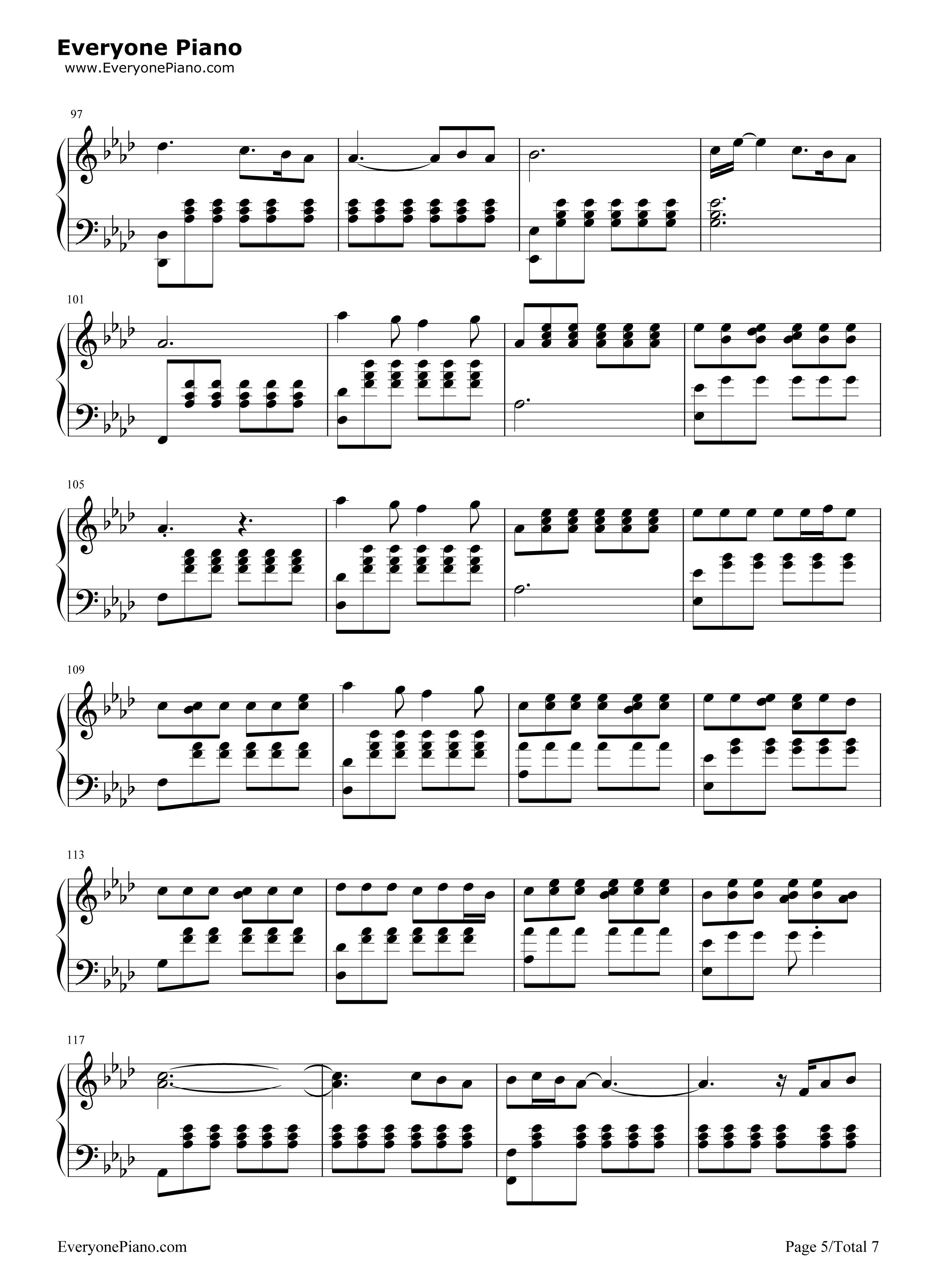 Perfect ed sheeran stave preview 5 free piano sheet music piano chords - Ed sheeran dive chords ...
