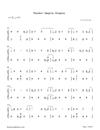 Thunder-Imagine Dragons Numbered Musical Notation Preview 1