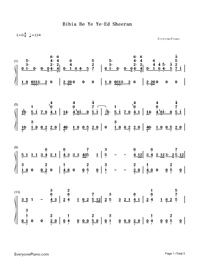 Bibia Be Ye Ye-Ed Sheeran-Numbered-Musical-Notation-Preview-1