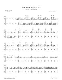 Ren'ai Circulation-Bakemonogatari OP-Numbered-Musical-Notation-Preview-1
