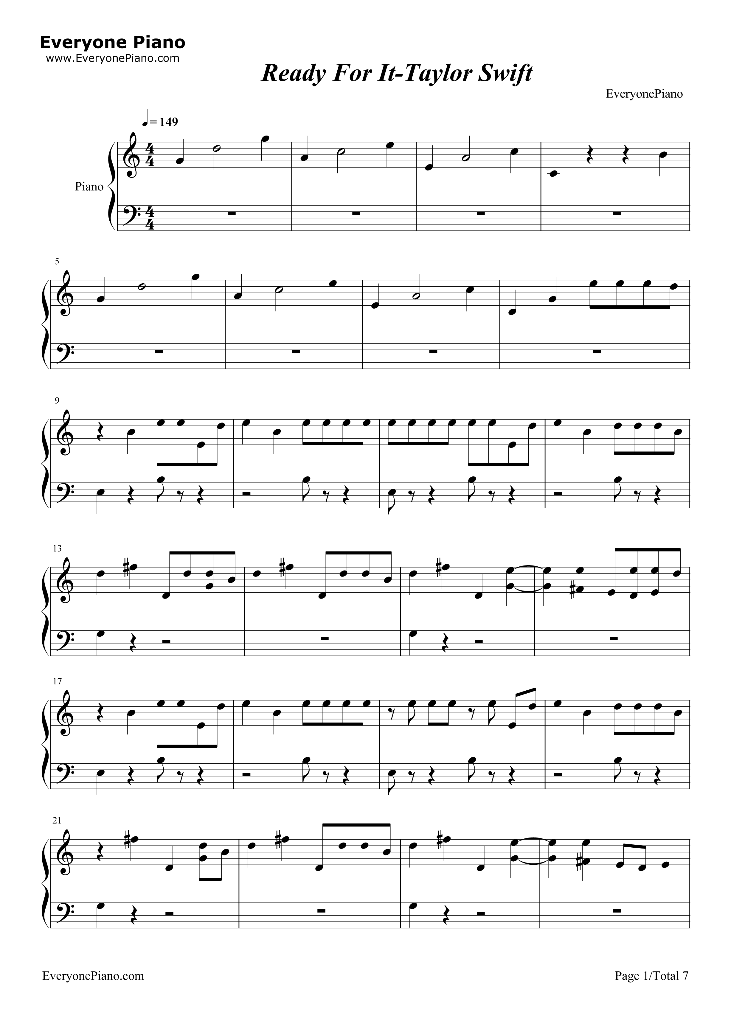 Ready for it taylor swift stave preview 1 free piano sheet music listen now print sheet ready for it taylor swift stave preview 1 hexwebz Gallery