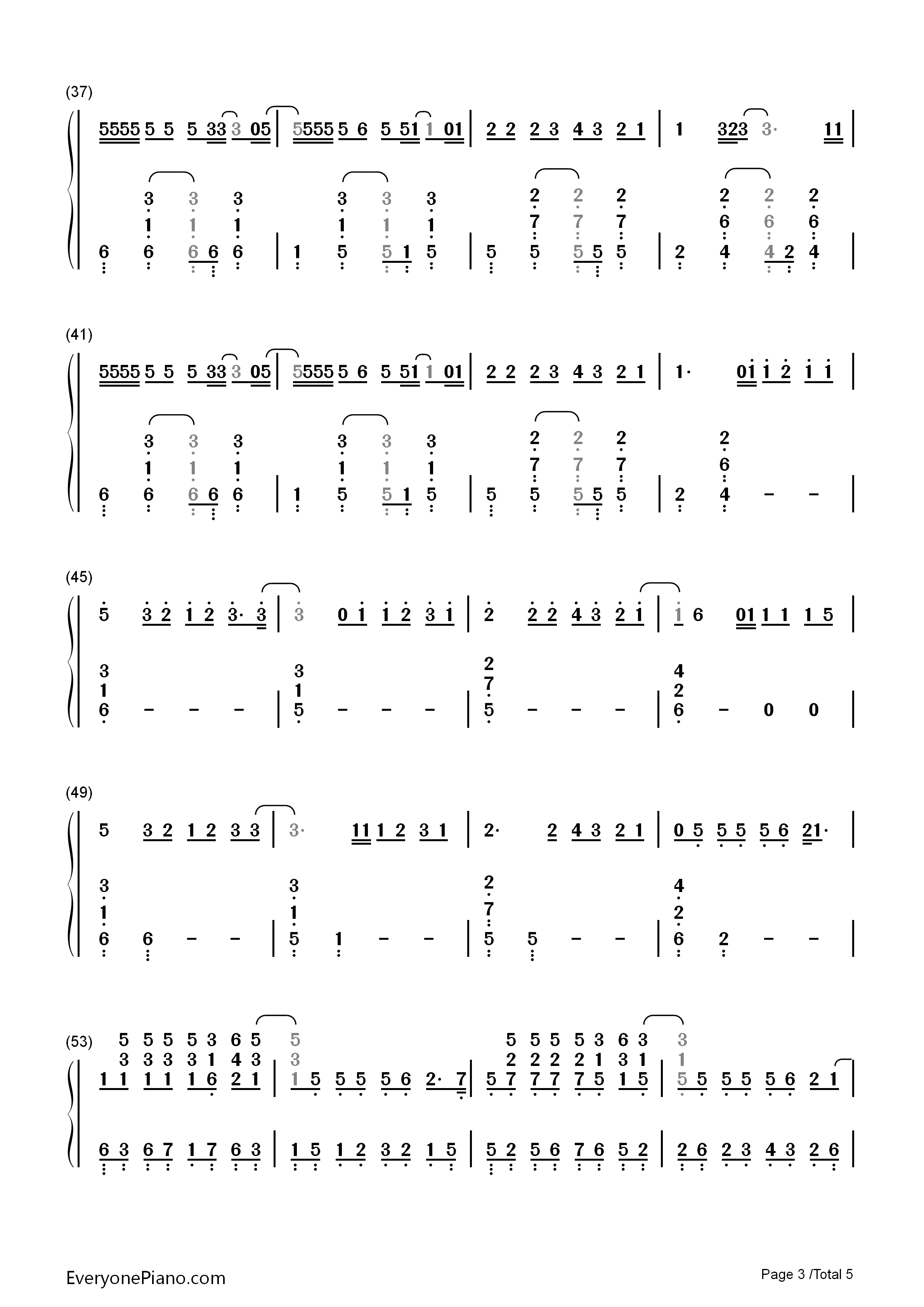 Too Good at Goodbyes-Sam Smith Numbered Musical Notation Preview 3