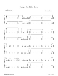 Younger Now-Miley Cyrus-Numbered-Musical-Notation-Preview-1