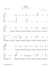Alpha-Minecraft BGM-Numbered-Musical-Notation-Preview-1