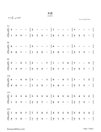 Canon in C Major-Johann Pachelbel Numbered Musical Notation Preview 1