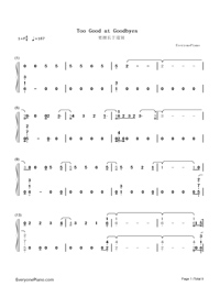 Too Good at Goodbyes-Sam Smith Numbered Musical Notation Preview 1
