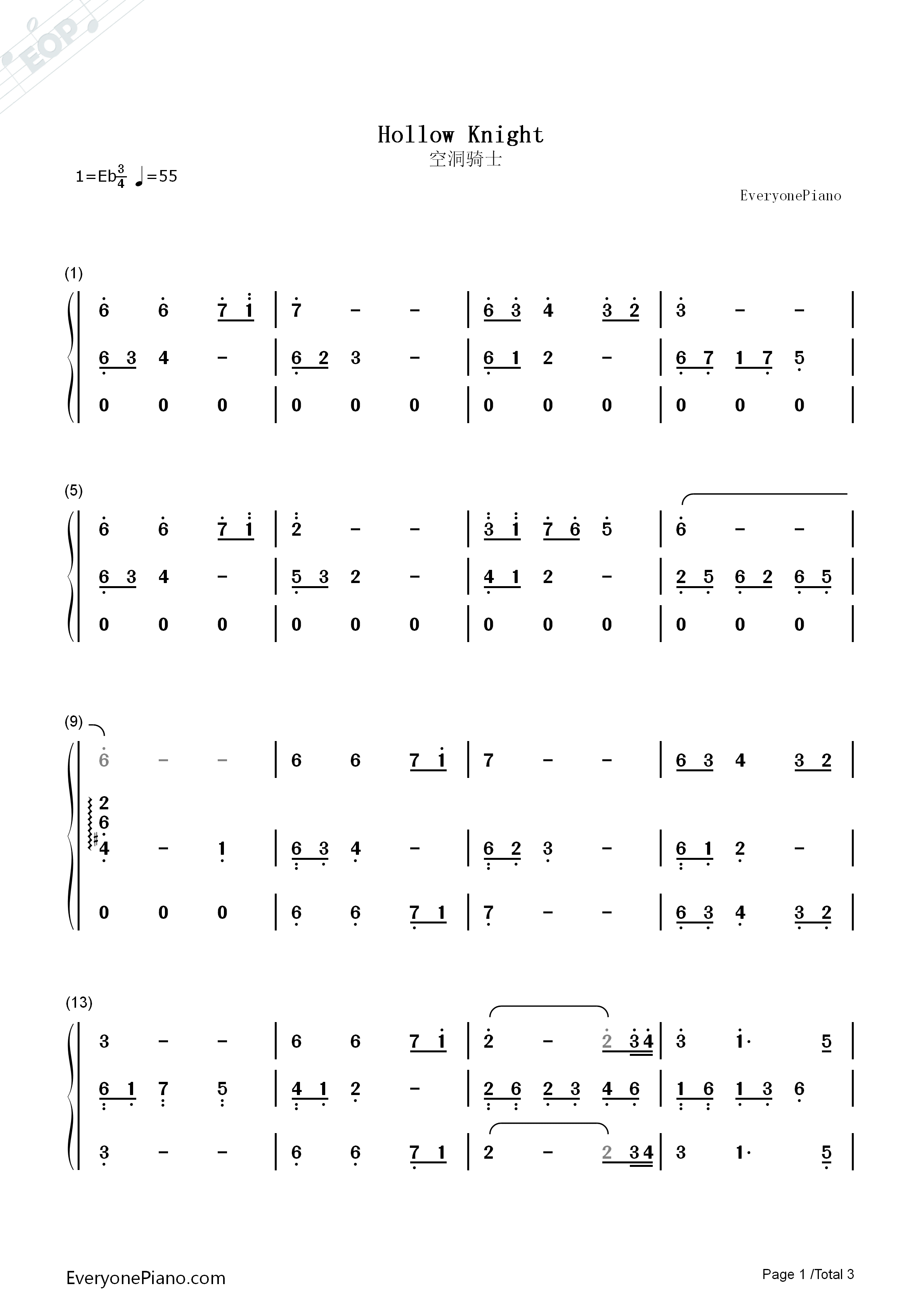 Hollow Knight-Hollow Knight BGM Numbered Musical Notation Preview 1