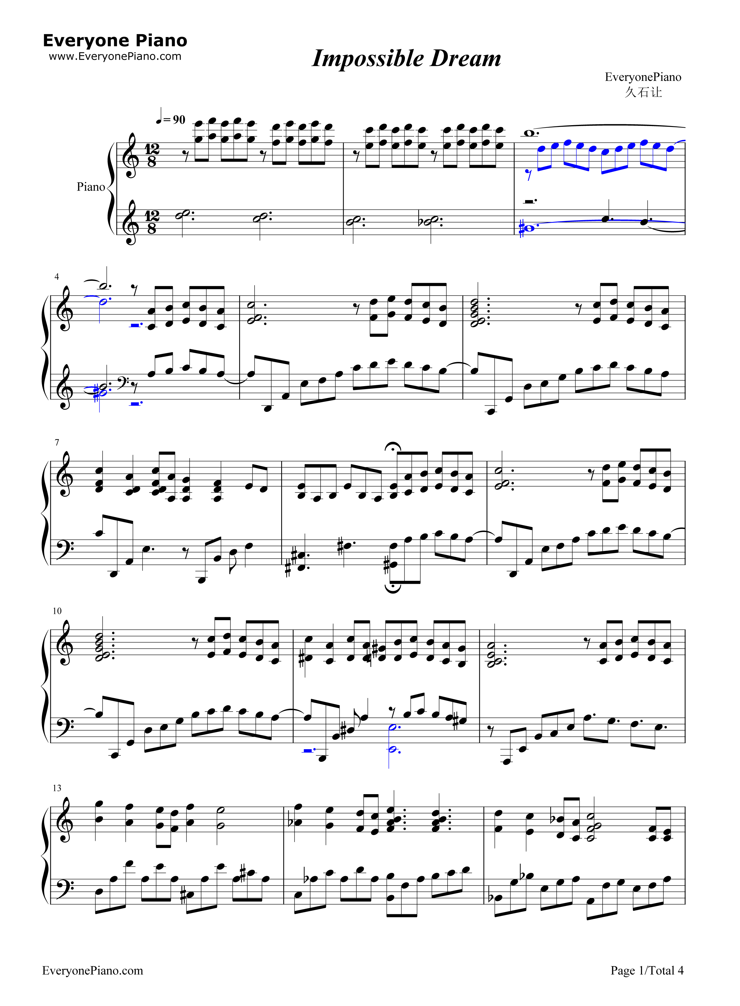 Impossible dream joe hisaishi stave preview 1 free piano sheet listen now print sheet impossible dream joe hisaishi stave preview 1 hexwebz Images