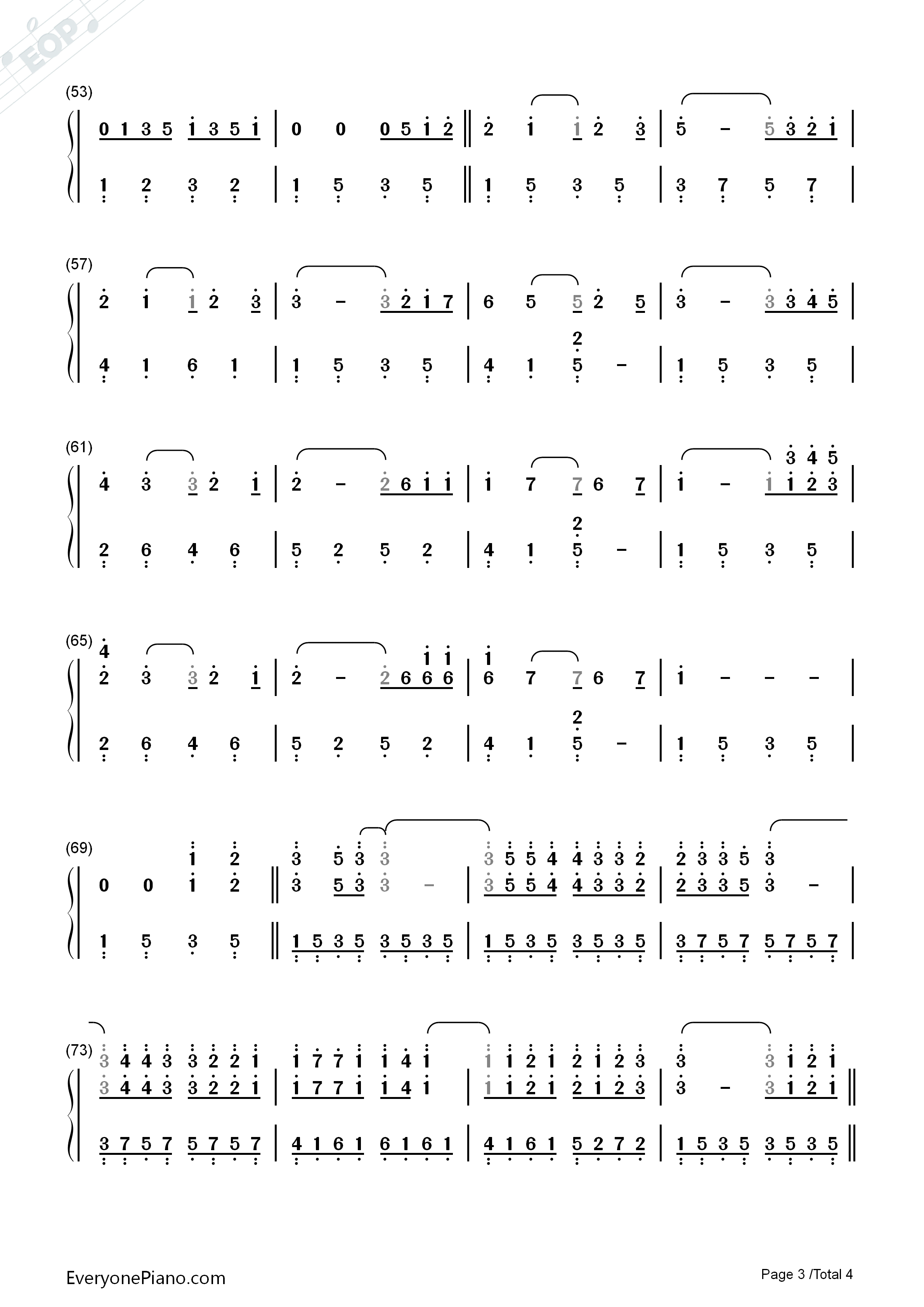 TRISTE COEUR-Triste Coeur Numbered Musical Notation Preview 3