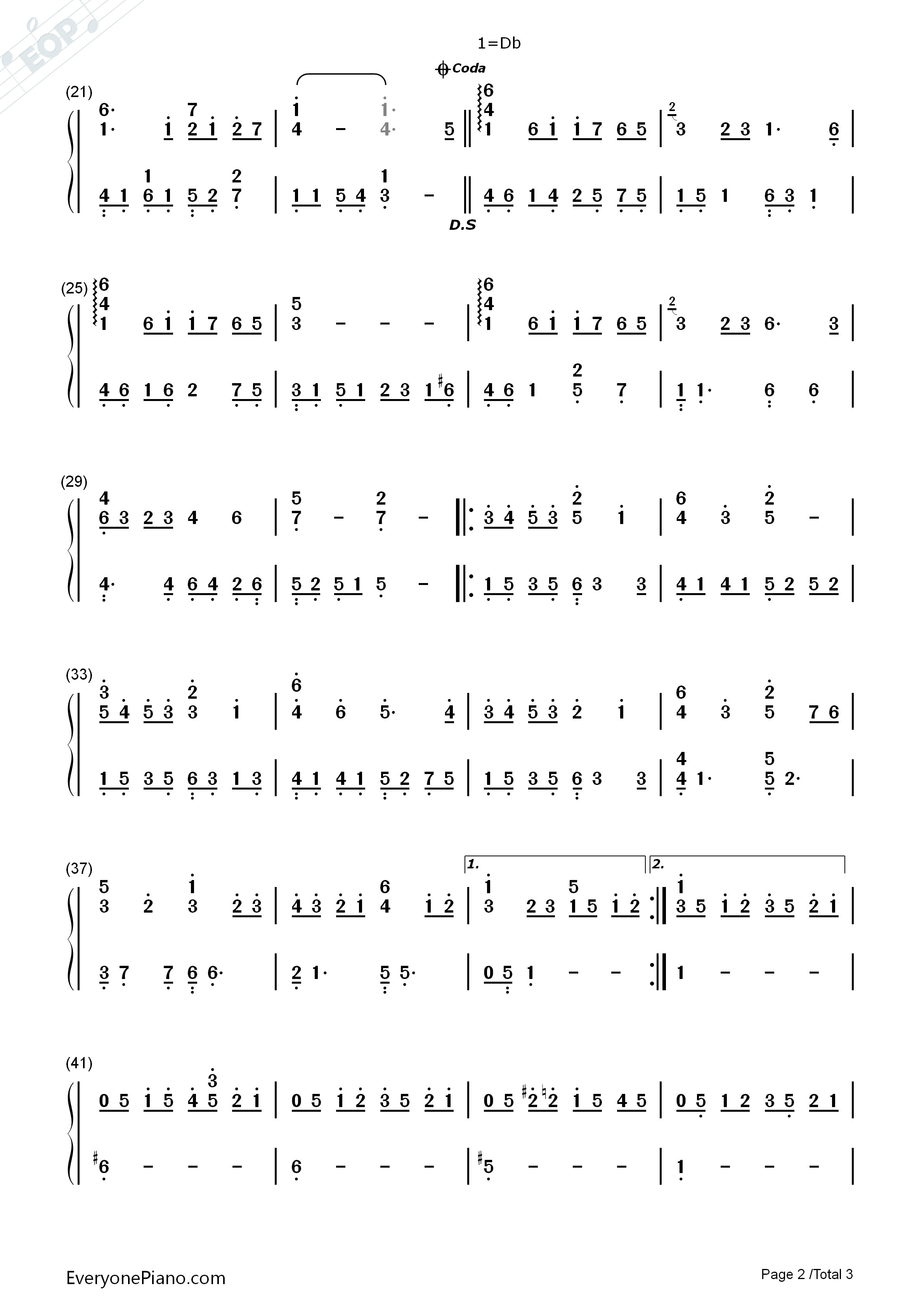 Snowdream-Bandari Numbered Musical Notation Preview 2