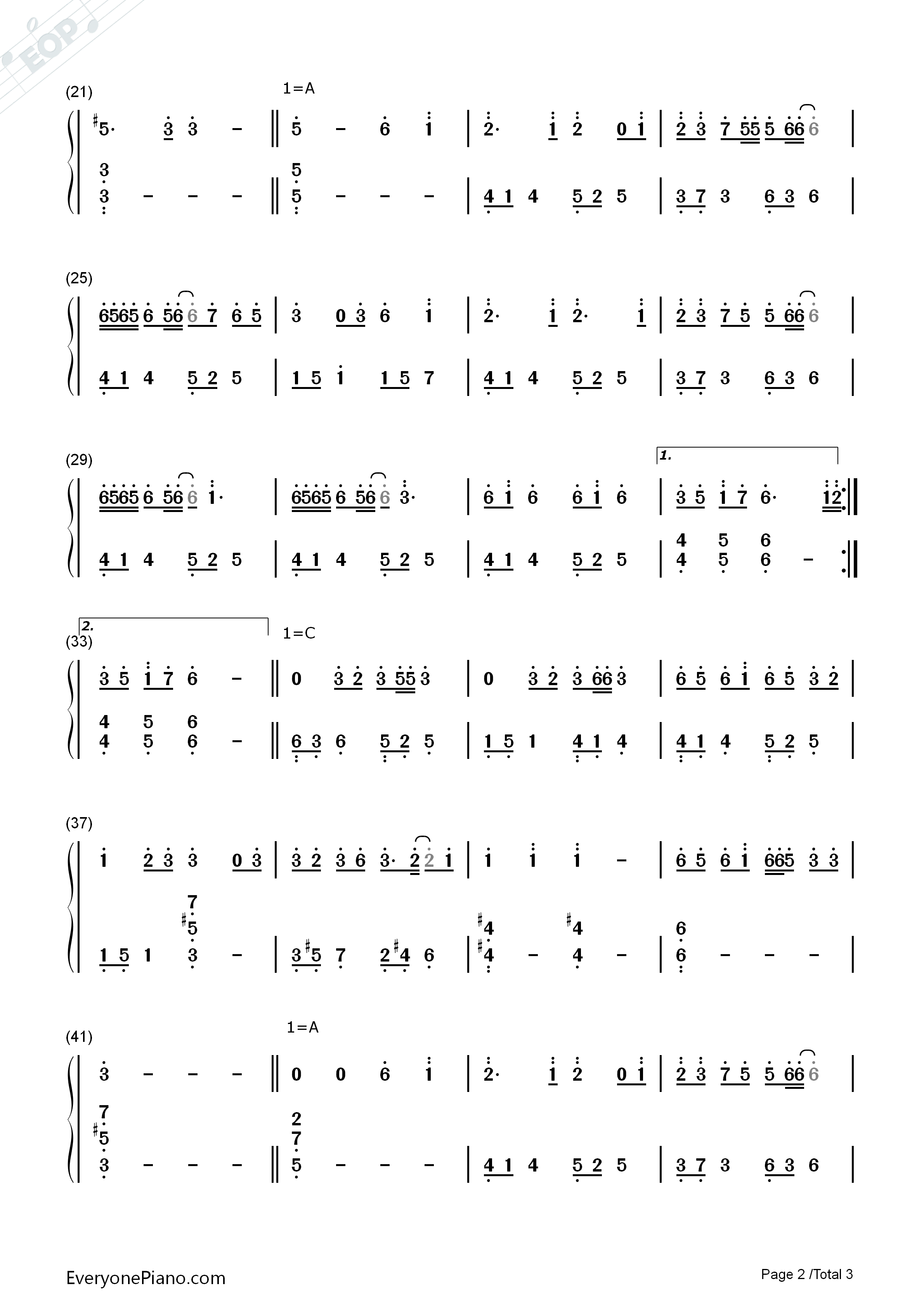 Togetsu-kyō Kimi Omou Numbered Musical Notation Preview 2