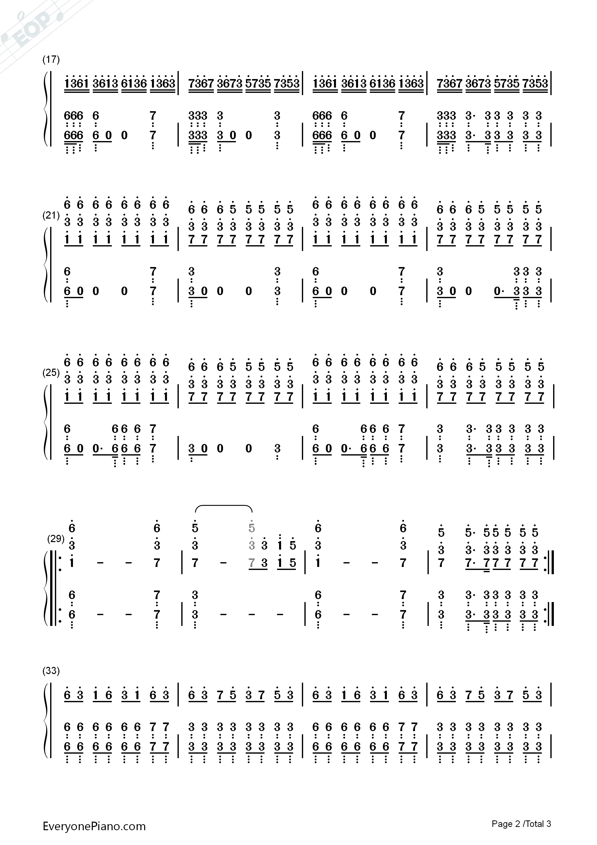 Still D.R.E.-Dr. Dre Numbered Musical Notation Preview 2
