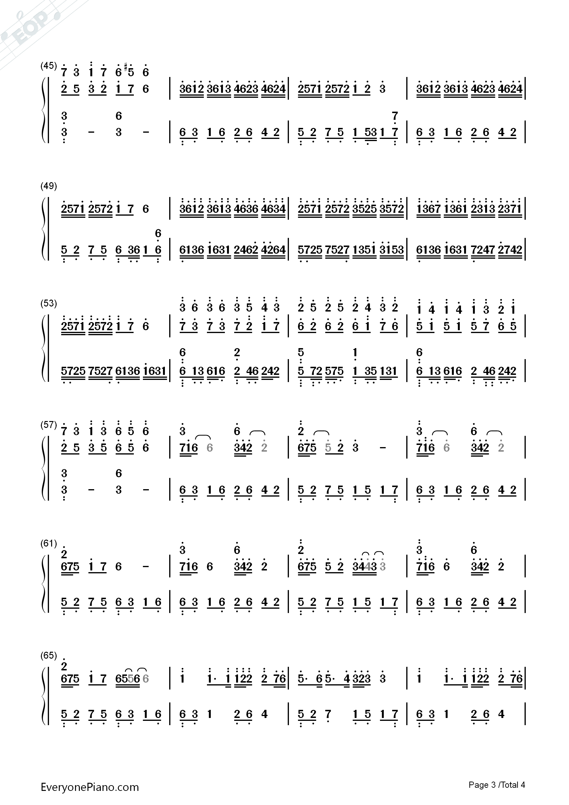 Wedding Rhapsody Numbered Musical Notation Preview 3