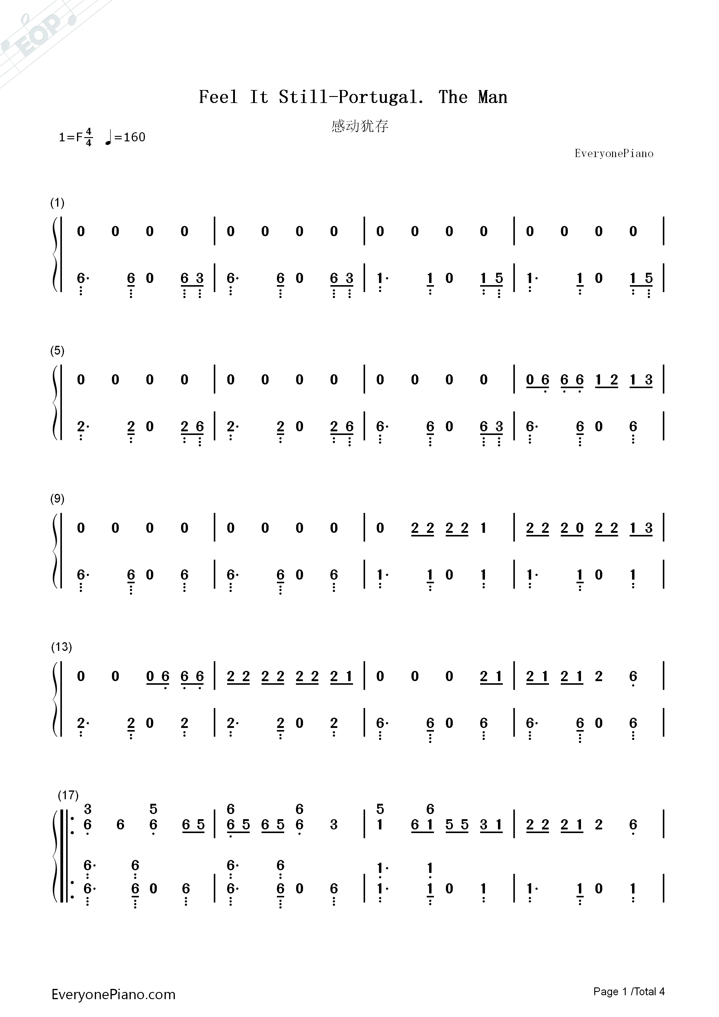 Feel It Still-Portugal. The Man Numbered Musical Notation Preview 1