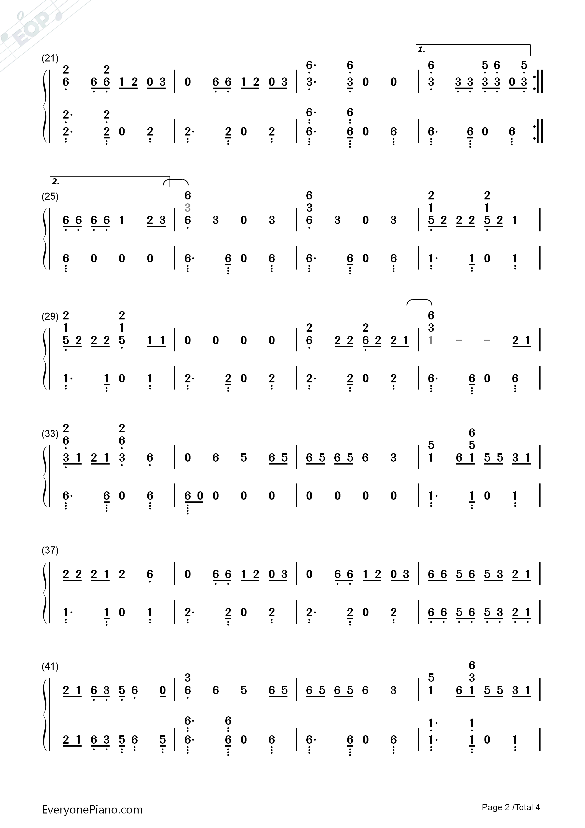 Feel It Still-Portugal. The Man Numbered Musical Notation Preview 2
