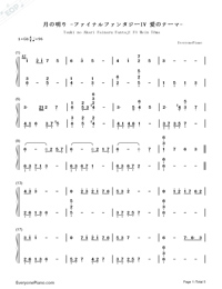 月の明り-最終幻想Ⅳ背景音樂雙手簡譜預覽1