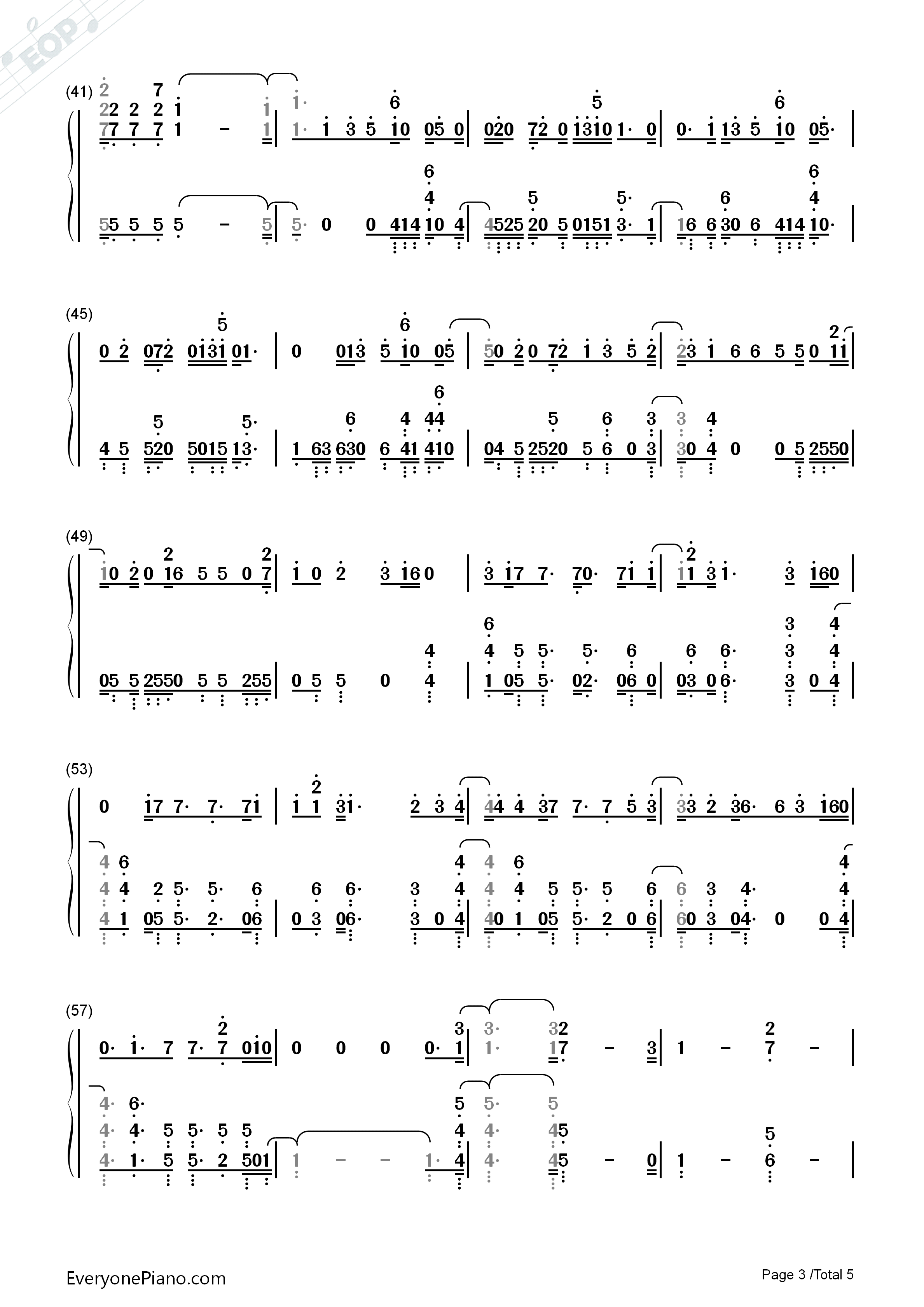 All Falls Down Alan Walker Numbered Musical Notation Preview