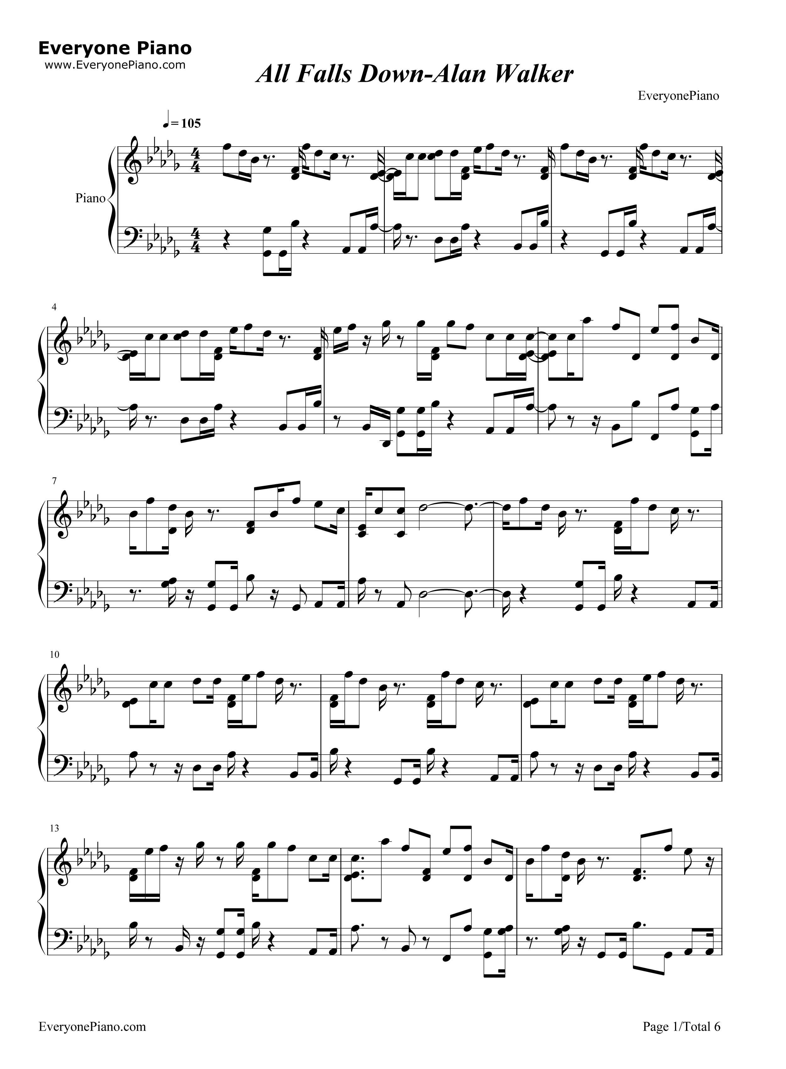 All Falls Down Alan Walker Free Piano Sheet Music Piano Chords