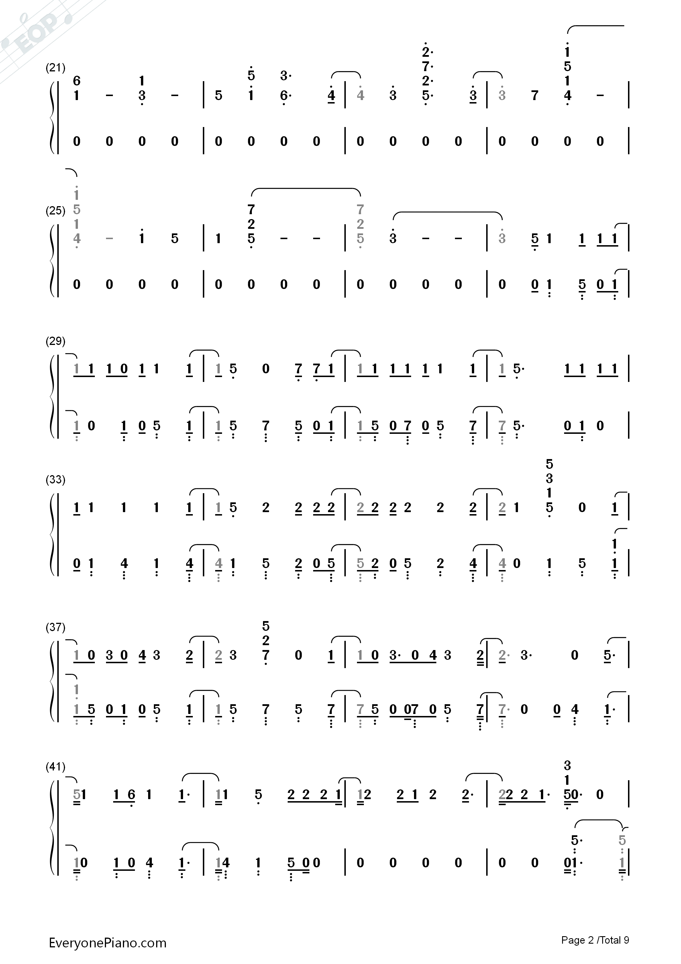 Beautiful Trauma Pink Numbered Musical Notation Preview 2