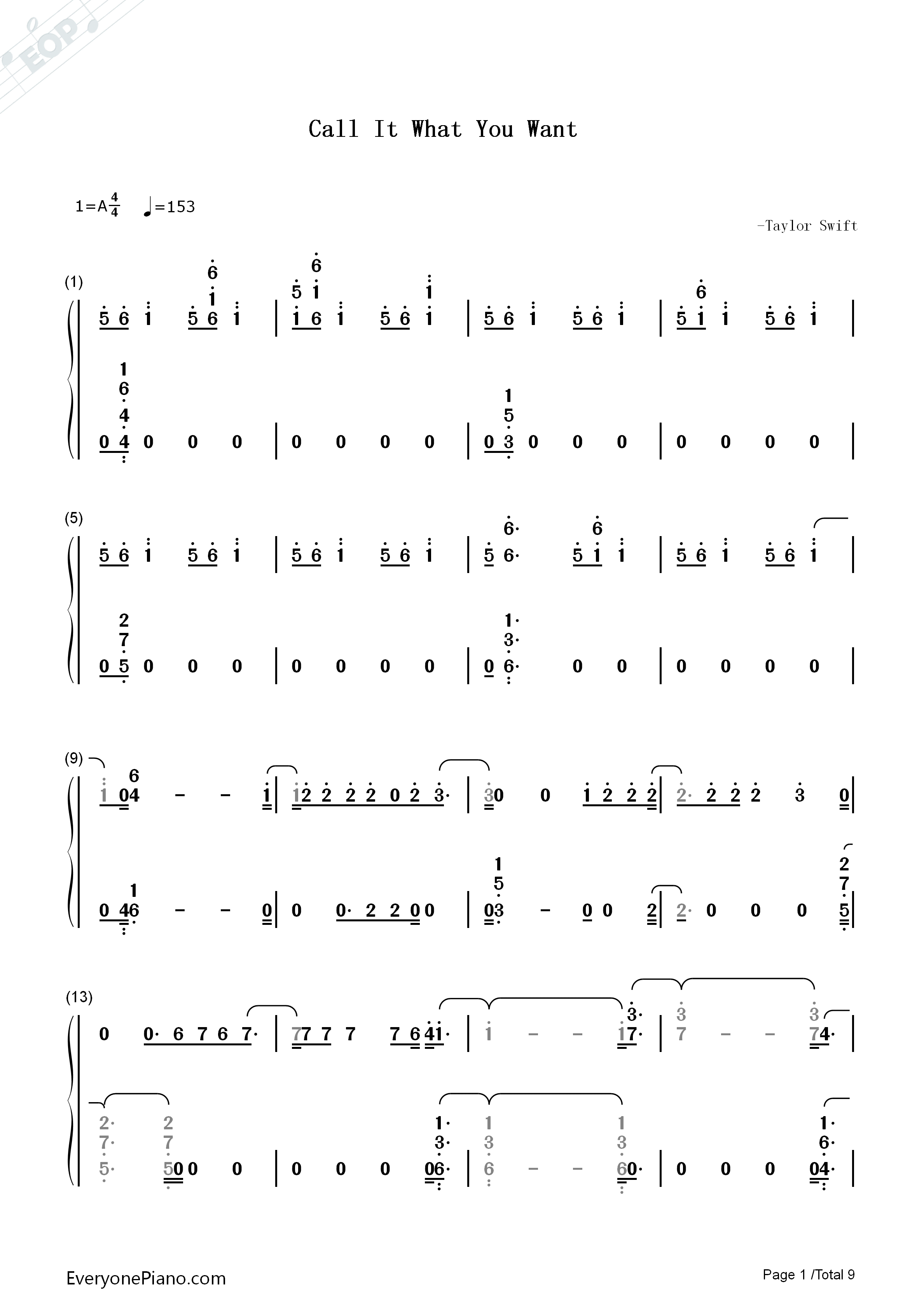 Call It What You Want Taylor Swift Numbered Musical Notation Preview