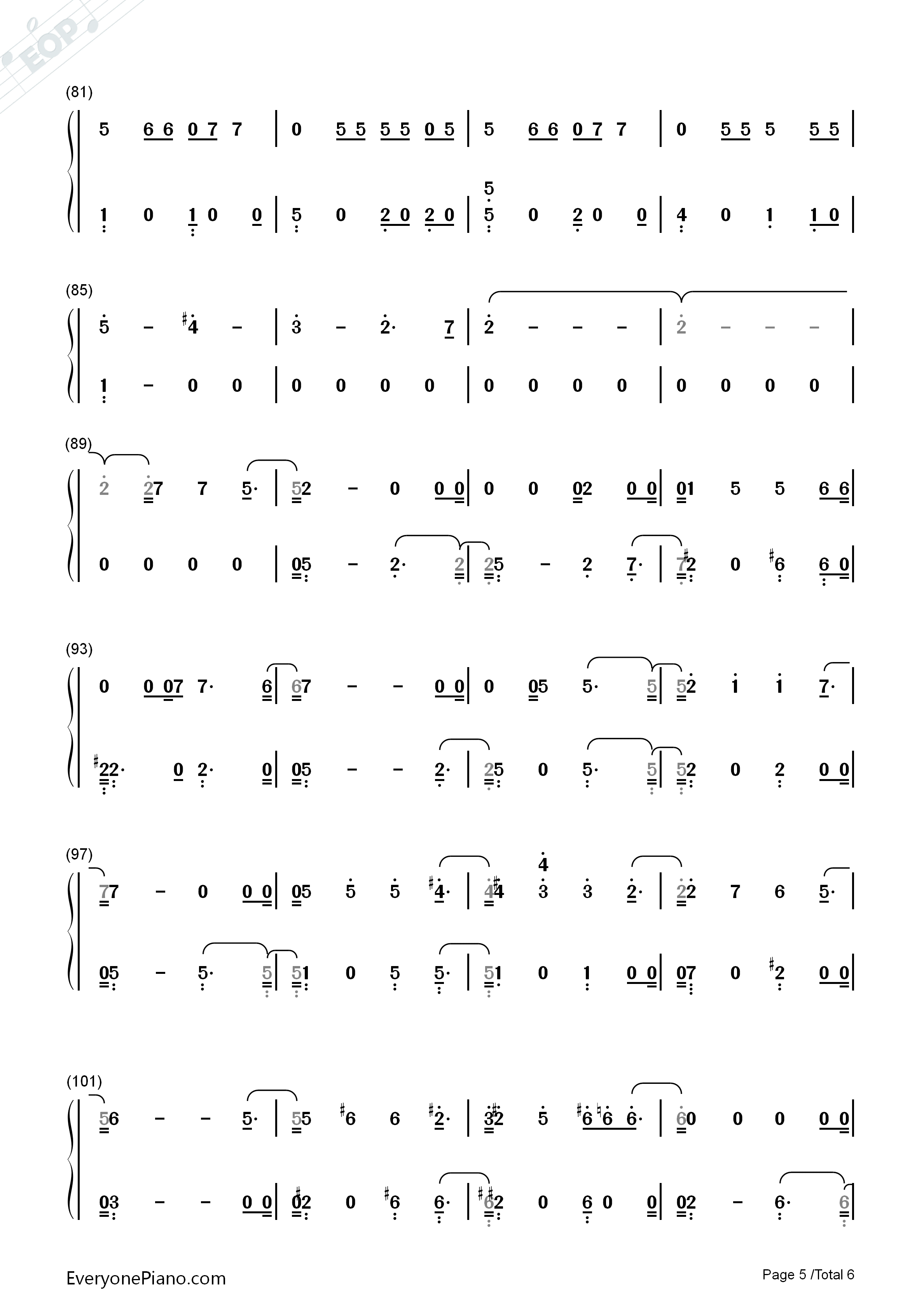 Remember Me-Coco Them Song Numbered Musical Notation Preview 5