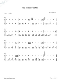 The Glorious Death-The Twins Effect OST-Numbered-Musical-Notation-Preview-1