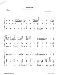 You Better Listen To Me-Eason Chan-Numbered-Musical-Notation-Preview-1